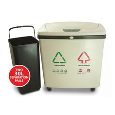 Fully Automatic 2-Compartment Recycle Touchless Trash Can NX 16 Gallon (IT16RE) - HAVE