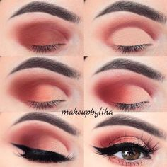 Hazel Eyes Smokey Copper Matte Shadows Pin Up Eyeliner Soft Arch Brows Makeup Tutorial Diy Easy Hazel Eye Makeup, Eye Makeup Steps, Smokey Eye Makeup, Eyeshadow Makeup, Makeup Brushes, Makeup Geek, Applying Eyeshadow, Pink Smokey Eye, Beauty Makeup