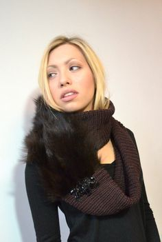 Brown Infinity Scarf with a Fur Twist