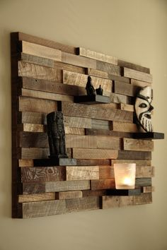 Reclaimed wood wall art shelf