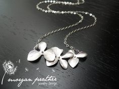 Triple Orchid Necklace in Silver Perfect by thelovelyraindrop