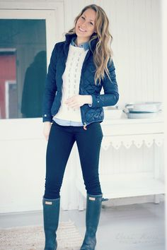 spring outfit / hunter boots Clothing, Shoes & Jewelry : Women : Clothing :  jeans  http://amzn.to/2kg5zfy