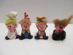 Kellogs 1970s Premiums Snap Crackle Pop Caveman Ogg Wood Felt Dolls Figurines