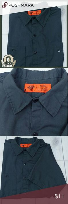 "Dickies Short Sleeve Work Shirt XL Button pocket dickies work shirt  Charcoal XL  Excellent condition. No defects or odors. 65% polyester, 35% cotton  Size XL chest 23"" across, sleeve 9.5"", length from neck to bottom hem 31""  GT2 Dickies Shirts Casual Button Down Shirts"