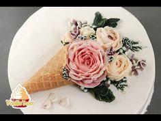 Mother's Day buttercream flower cone - how to make by Olga Zaytseva /CAKE TRENDS 2017 #14 - YouTube