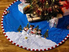 Let it Snow Bucilla Felt Christmas Tree Skirt Kit by Mary Engelbreit Diy Christmas Tree Skirt, Xmas Tree Skirts, Christmas Stocking Kits, Felt Christmas Stockings, Christmas Crafts, Christmas Patterns, Mary Engelbreit, Tree Decorations, Christmas Decorations