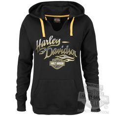 Harley-Davidson Womens Getting Wing B&S Pullover Black Long Sleeve Hoodie - XL