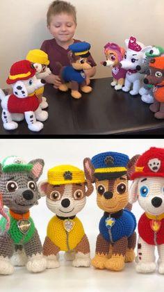 Crochet Paw Patrol Characters – Crochet and Knitting Patterns – Amigurumi Free Pattern İdeas. Chat Crochet, Crochet For Kids, Crochet Dolls, Free Crochet, Crochet Baby, Crochet Clothes, Crochet Disney, Crochet Teddy, Easter Crochet
