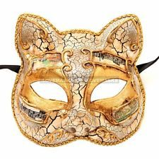 Gatto Cat Masquerade Mardi Gras Venetian Music Costume Party Mask - White Gold
