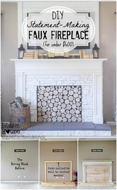 DIY Faux Fireplace - Blesser House featured on @Remodelaholic #buildit #tutorial