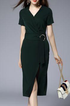 V-Neck Ruched Belted Little Black Dress