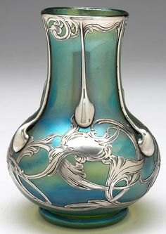 "Loetz Glatt vase, bulbous shape in creta glass, applied silver overlay with tendrils, signed, 3.5""w x 5""h"