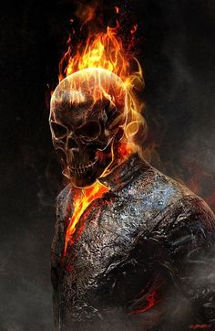 Busy day, hair on fire. Yours? Ghost Rider concept art by Jerad S. Marantz for Christian Tinsley at Tinsley Studio.