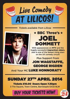 #‎BBC3‬ star Joel Dommett set to headline North Devon's live ‪#‎comedy‬ show at LILICO'S Tapas Lounge & Bar this Sunday!