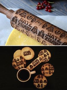 48 Star Wars engraved rolling pin Walnut Wood Wooden Exclusive Darth Vader R2D2…