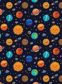 Outer Space Fabric - Happy Space By Penguinhouse - Galaxy Space Modern Gender Neutral Nursery Cotton Fabric By The Metre With Spoonflower Space Themed Wallpaper, Nursery Wallpaper, Space Themed Nursery, Nursery Themes, Space Fabric, Cartoon Wallpaper, Wallpaper Wallpapers, Vintage Wallpapers, Nursery Neutral