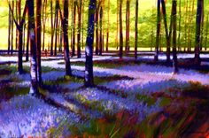 Bluebell Wood - acrylic painting on canvas by David Williams. Giclee prints available from www.southdownsgallery.co.uk