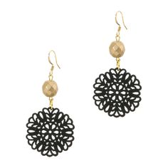 Black and gold are always a classic combination but here's a playful twist on the theme. From Elle V Design, a drop earring with their signature resin filigree disc dangles from a faceted gold bead.   Found it on the bohemian trunk
