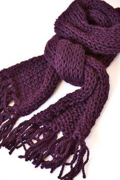 Eggplant Knit Scarf - Ready to Ship - Dark purple, plum, chunky, hand knit scarf, fall fashion. $42.00, via Etsy.