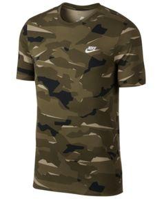 Nike Men's Sportswear Camo-Print T-Shirt - Brown Camisa Nike, Nike Clothes Mens, Nike Wear, Camouflage T Shirts, Athletic Outfits, Athletic Clothes, Nike Outfits, Camo Print, Nike Sportswear