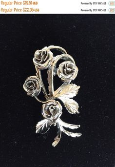 Silver Rose Coro Brooch Vintage Silver Rose Brooch and PIn Cluster Of blooms in Silver tone Metal stamped Coro by StudioVintage on Etsy