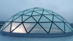 Skylight double glass dome roof - roof window Frame: T-STAR system steel painted RAL, aluminium. Skylight Glass, Roof Dome, Geodesic Dome Homes, Steel Structure Buildings, Dome Greenhouse, Steel Paint, Dome Ceiling, Glass Building, Fibreglass Roof