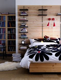 Large wooden headbord from Ikea called Mandal. The headboard is in solid birch with adjustable shelves and can be mounted on the wall. Ikea Mandal Headboard, Scandinavian Interior Bedroom, Headboards For Beds, Dresser As Nightstand, Apartment Design, Cozy House, Home Bedroom, Adjustable Shelving, Boy Room