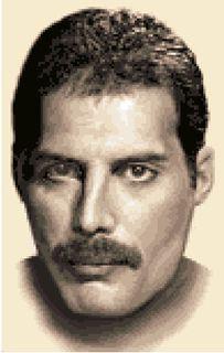 Freddie Mercury in counted cross stitch
