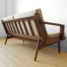【楽天市場】ウォールナット材 ウォールナット無垢材 木製フレームのフルカバーリングソファー 木製ソファ 2P 2.5P 背格子の上質なデザインの2.5人掛けソファ LOFT-LS2.5P:JOYSTYLE coordinate