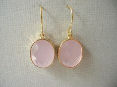 Pink And Gold Earrings, Pink Opal Glass
