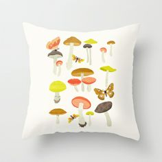 Mushroom Chart Throw Pillow