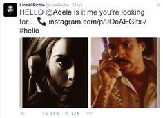 """Depois de Adele lançar o clipe do single """"Hello"""", Lionel Richie postou em sua conta no Instagram uma montagem brincando com o tema. O cantor lançou em 1983 uma canção de grande sucesso e com o mesmo nome: """"Hello"""". #livepass"""