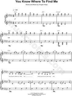 You Know Where to Find Me sheet music by Imogen Heap
