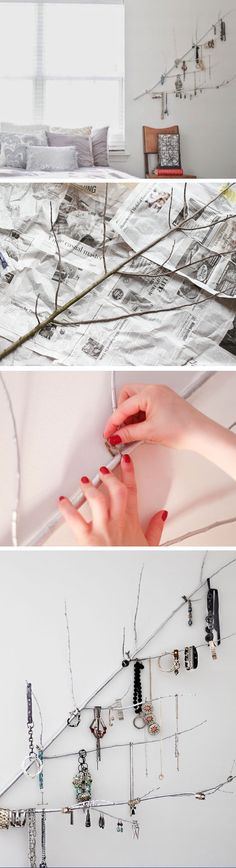 Easy to Make Branch Jewelry Holder | Click Pic for 20 DIY Small Apartment Organization Ideas for the Home | Easy Storage Ideas for Bedrooms Dollar Stores