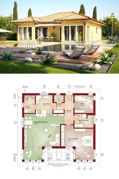 Modern House Floor Plans, Bungalow House Plans, Bungalow House Design, House Layout Plans, House Layouts, Beautiful Small Homes, Interior Design Minimalist, Modern Architecture Design, Modern Design