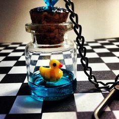 Kawaii Cute Swimming Rubber Ducky Glass Keychain by GeekFreakBoutique, $14.50