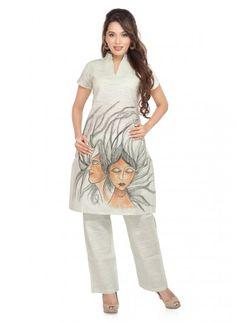 Light Grey Linen and Cotton Short Kurti and Parallel Salwar