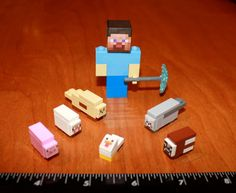 Custom Minecraft Lego Steve with Diamond Pickaxe and by MadeByCLO, $39.95