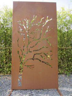 """Sichtschutz-Wand """"Weide"""" aus Metall in Rost-Optik"""