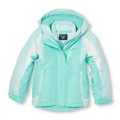 Girls Long Sleeve Colorblock Hooded 3-In-1 Jacket