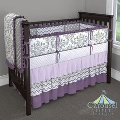 Crib bedding in Lilac Chelsea, Solid Lilac, Lilac and Slate Gray Chevron, Solid Aubergine Purple, Gray and White Polka Dot, Gray Traditions Damask. Created using the Nursery Designer® by Carousel Designs where you mix and match from hundreds of fabrics to create your own unique baby bedding. #carouseldesigns