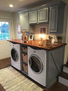 40 Modern Basement Remodel Laundry Room Ideas Traditionally, washers and dryers were located in the basement. This is a little like storing garden tools in the attic. Laundry Room Cabinets, Basement Laundry, Laundry Room Organization, Laundry Room Design, Laundry Rooms, Laundry Closet, Diy Cabinets, Bathroom Laundry, Washroom