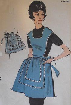 VTG Advance Sewing Pattern 2702 Farmhouse Aprons H Back Full & Half Large 18-20