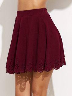 SheIn Women's Basic Solid Cutout Scallop Hem Flared Mini Skater Skirt X-Small Burgundy Mini Skater Skirt, Pleated Skirt, Dress Skirt, Skirts For Sale, Cute Skirts, Short Skirts, Mini Skirts, Lila Rock, Textiles Y Moda