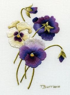 Trish Burr Embroidery Kit Pansies by TRISHBURREMBROIDERY on Etsy, $21.95