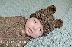 Free crochet bear hat pattern in 7 sizes from newborn through adult on KT and the Squid