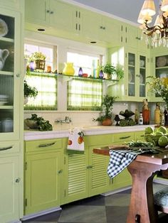 Fresh soothing celery green is a great year round color, just add a few warm color accents.