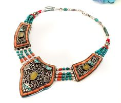 Bib Necklace Turquoise,Amber & Coral, Nepal Jewelry,Tibetian Vintage Necklace, Statement Tribal Afghan Jewelry by Taneesi by taneesijewelry on Etsy https://www.etsy.com/listing/227733348/bib-necklace-turquoiseamber-coral-nepal