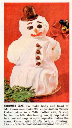 Martyr snowman cake awaits the cold steel of the knife plunging into his back after dinner.