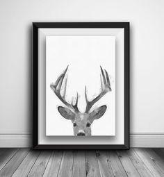 Deer Print Deer Antlers Nursery Black and by AnnasDigitalArtDeco Woodland Decor, Deer Print, Animal Nursery, Deer Antlers, Printable Art, Moose Art, Wall Art, Black And White, Boys